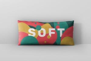 时尚多彩长矩形沙发卧室枕头样机模板 Pillow Mockup – Long Rectangle插图2