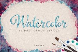 炫彩漂亮水彩效果PS样式Vol.1  Watercolor Photoshop Styles Volume 1插图1