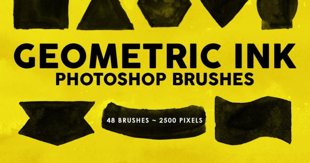 48个墨水几何图形PS印章笔刷 48 Geometric Ink Photoshop Stamp Brushes插图