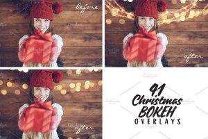 圣诞灯饰光影照片处理图层样式 Christmas Overlays for Photographers插图4