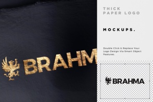 3款Logo设计印刷效果图样机模板 3 Paper Logo Mockups插图5