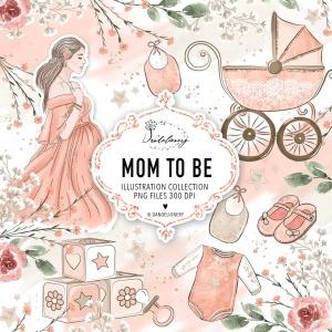 母婴主题水彩手绘图案剪贴画PNG素材 Maternity clipart插图(2)