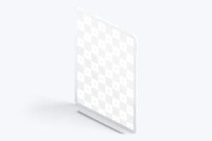"iPad Pro平板电脑屏幕等距左视图样机02 Clay iPad Pro 12.9"" Mockup, Isometric Left View 02插图2"