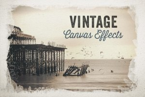 复古油画布背景水彩遮罩效果PS图层样式 Vintage Canvas Effects Volume 1插图1