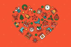 圣诞节符号图标组合心形矢量设计素材 Christmas accessories – linear illustration插图1