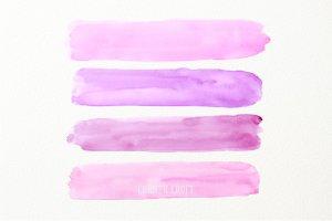 水彩紫色薄雾画笔笔刷 Watercolor Brush Strokes Purple Haze插图(2)