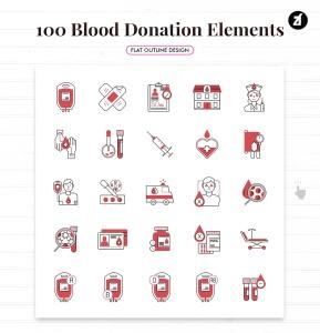 100个红十字会献血元素主题矢量图标 100 Blood donation elements插图4