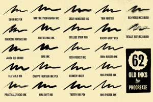 历史插画名家手绘风格Procreate绘画笔刷 Auld Inks for Procreate插图7