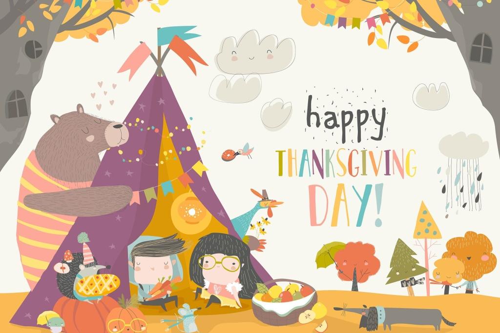 儿童与动物庆祝感恩节主题卡通绘画矢量插画素材 Cute kids celebrating Thanksgiving day with animal插图