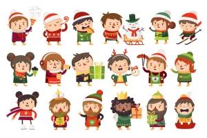 圣诞节主题卡通人物形象矢量图形素材 Christmas children插图1