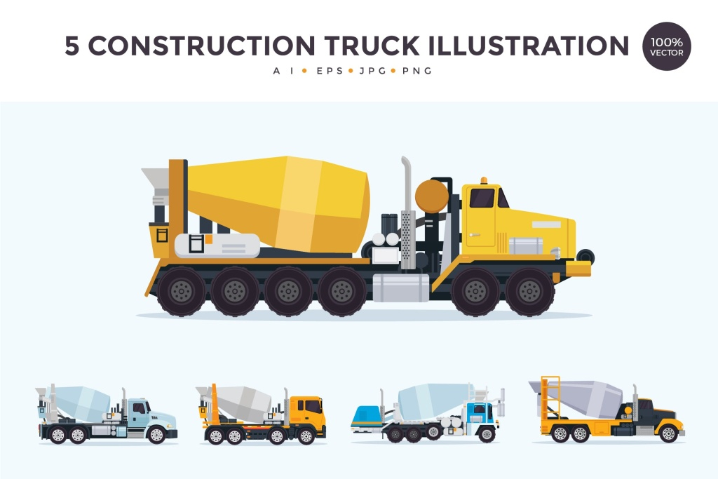 5个施工搅拌车/混凝土搅拌车矢量图形素材 5 Construction Mixer Truck Vector Illustration Set插图