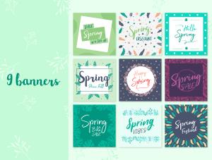 一流设计素材网下午茶:春季广告banner设计矢量素材[Ai]插图2