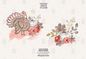 感恩节主题火鸡手绘图案数码纸张背景 Turkey Thanksgiving design插图4