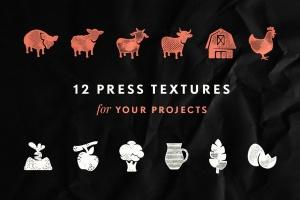 24种复古做旧风格效果PS图层样式 Hometown Texture Press Effects插图3