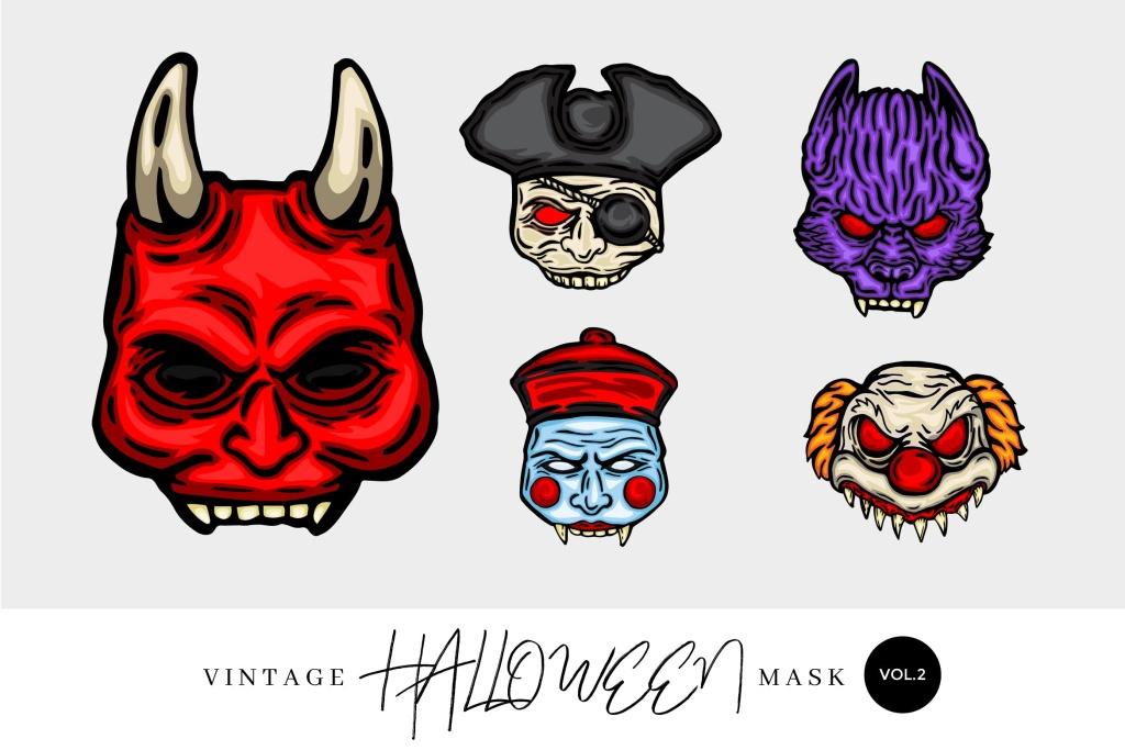 5个万圣节复古设计风格手绘面具矢量图形素材v2 5 Vintage Hand Drawing Halloween Mask Vector 2插图