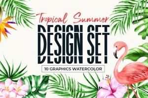 热带雨林植物水彩手绘插画PNG素材 Tropical Summer Design Set插图1