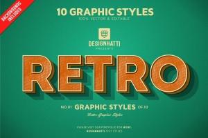 10种复古怀旧风格PS文本样式 for AI Retro Vintage Text Styles插图1