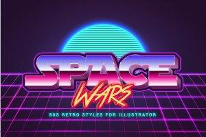 80年代复古文本图层样式 80s Retro Illustrator Styles插图4