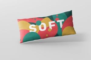 时尚多彩长矩形沙发卧室枕头样机模板 Pillow Mockup – Long Rectangle插图1