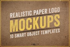 逼真复古纸张Logo设计展示样机模板Vol.1 Realistic Paper Logo Mockups Volume 1插图1