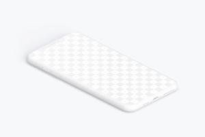 iPhone XS Max智能手机屏幕界面设计效果图左视图样机 Isometric Clay iPhone Xs Max Mockup, Left View插图1