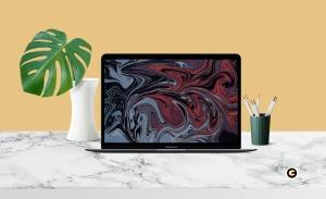 简约风办公环境超极本电脑屏幕预览样机 Laptop Mockup插图3