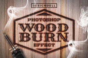 木板烙铁烧焦图层样式 Wood Burn Photoshop Effects插图1