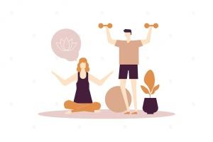 扁平设计风格家庭健身场景矢量插画 Home fitness – flat design style illustration插图1