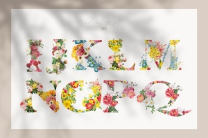复古风格花卉字母&数字设计PNG素材 Vintage Flower Alphabet插图3