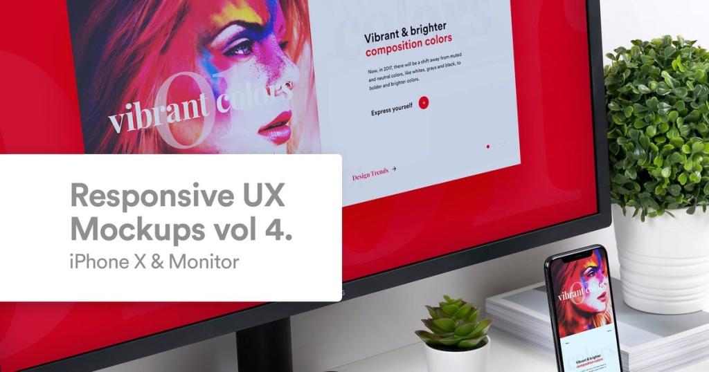 响应式设计预览iPhone X & 桌面显示器样机模板v4 Responsive Mockup iPhone X & Monitor Vol 4插图