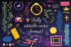 梦幻童话手绘矢量插画素材包 Fairy Tale Illustration Bundle插图3