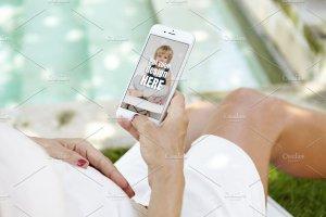 生育育儿主题孕妇手持iPhone样机模板 iPhone Pregnat Mockups插图2