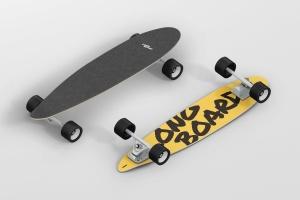 长滑板手绘图案设计样机模板 Skateboard Longboard Mockup插图1