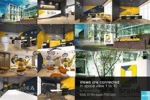 3D立体logo标志企业文化办公室设计VI样机展示模型mockups插图2