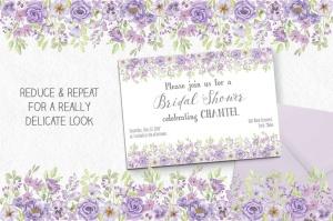 紫色水彩花卉边框&元素剪贴画PNG素材 Purple Watercolor Floral Border Plus Elements插图4
