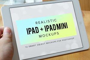 逼真 iPad 平板电脑样机 Realistic iPad & iPad Mini Mockups插图1