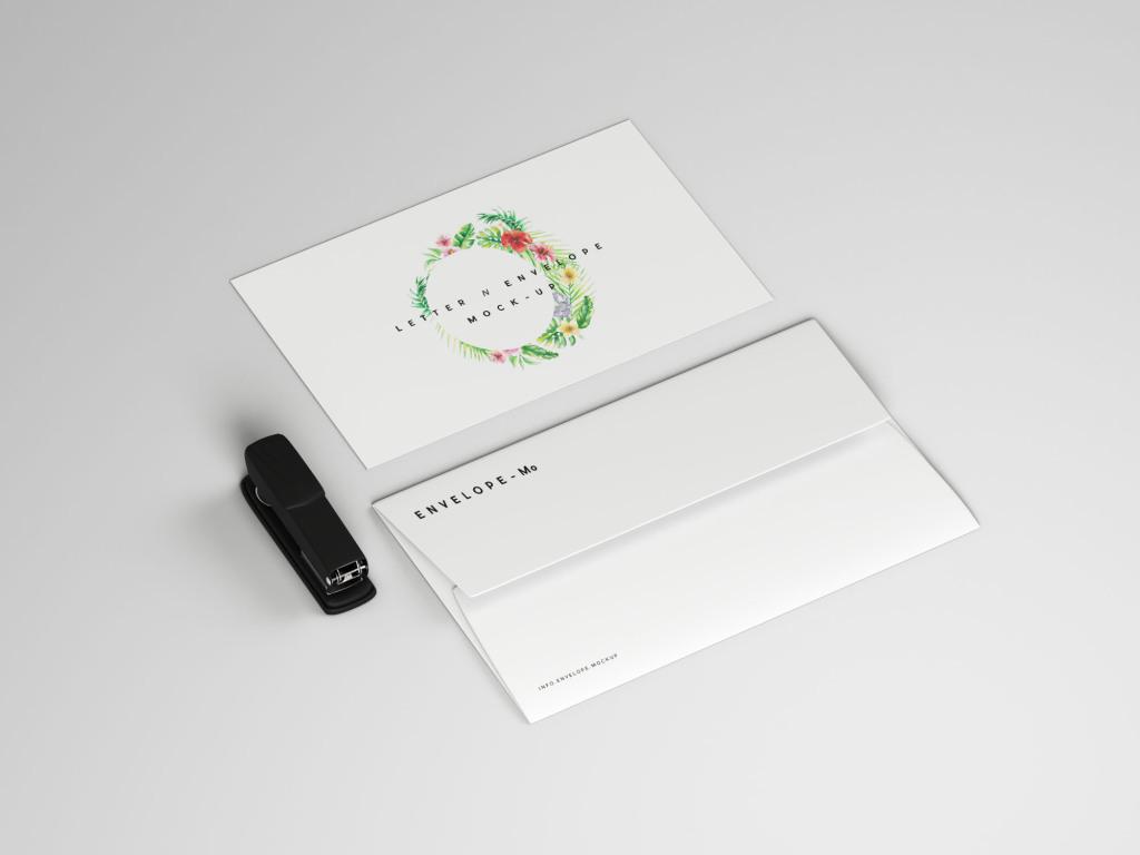 企业品牌VI标识信封&信件设计图样机模板 Envelope and Letter Mockup插图