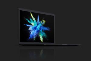 15寸MacBook Pro苹果笔记本电脑屏幕设计效果图预览前左视图样机02 Clay MacBook Pro 15″ with Touch Bar, Front Left View Mockup 02插图7
