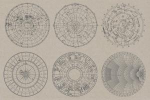 12款复古星座图航海图矢量素材 Vintage Charts插图2