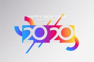 2020新年数字彩色矢量设计图形素材 2020 Happy New Year Greeting Card插图11