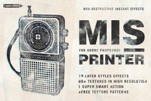 复古影印打印风格图层样式 Misprinter for Adobe Photoshop插图1
