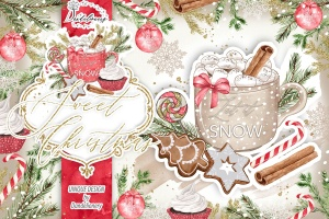 甜蜜圣诞节水彩手绘图案PNG素材 Sweet Christmas design插图1