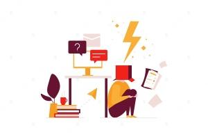 办公场景扁平化设计矢量插画 Job burnout – flat design style illustration插图1