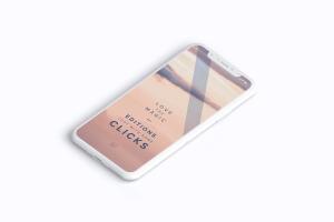 多个iPhone X智能手机屏幕等距平铺视觉样机模板 Clay iPhone X Mockup 02插图6