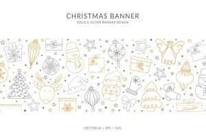 不同圣诞元素组合圣诞主题横幅Banner矢量设计 Christmas Banner with different Christmas Elements插图(1)