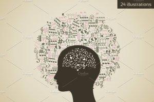 24个抽象头脑风暴插图集 Circle a head插图1