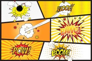 漫画爆炸图手绘矢量图形素材 Comic Blaster Vector插图1