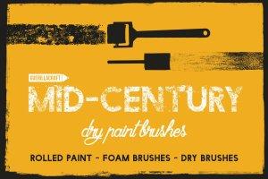 中世纪辊筒印刷滚筒刷油漆效果PS笔刷 Mid-Century – Dry Paint Brushes插图1