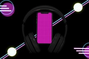 在线音乐APP设计效果图样机模板 Neon Music App MockUp插图9