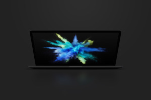 15寸MacBook Pro笔记本半合状态前视图样机02 Clay MacBook Pro 15″ with Touch Bar, Front View Mockup 02插图5